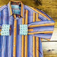 Robert Graham Button Shirt Geometric Striped Long Sleeve Flip Cuff EUC Large