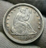 1849 Seated Liberty Quarter 25 Cents - Key Date only 340,000 minted, Nice (9845)