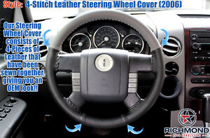 2006 Lincoln Mark LT -Genuine Leather Steering Wheel Cover, 2-Tone Black/Gray