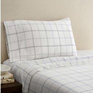 New Hidden Retreat 300 TC Cotton Plaid King Pillowcase Shams Set Of 2 White 3 Ab