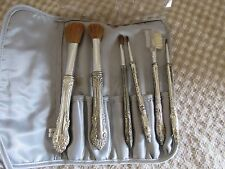 VINTAGE MAKEUP BRUSHES SILVER PLATE?TONE SET OF 6 BAROQUE STYLE ORIGNIAL CASE
