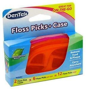 DenTek Floss Picks + Case On The Go Mint Flosser 12 ea (2 Pack)