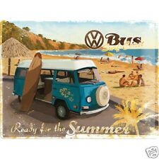 VW Camper 'Ready for Summer' - 3D Metal Wall Sign. Size : 30cm by 40cm
