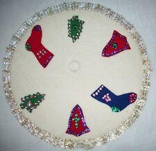 Vintage Christmas felt table decor Beading sequin bells trees stocking design