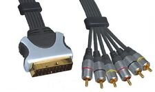 3m Scart Plug (Input) to (Output) 6x RCA Phono Plugs RGB Cable Gold Plated