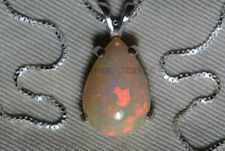 Exclusive 925 Sterling Silver Ethiopian Fire Opal Gemstone Necklace Jewelry