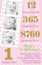 Personalised Girls Boys Birthday Invitations Pink Gold 1st Kids Photo invites