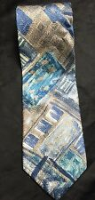 "Bruno Piattelli Blue Brown White ""Painted"" 100% Silk Tie"