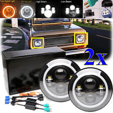 "For 1966-1977 Early Ford Bronco LED 7"" Headlights w/ Halo & w/ Hi/Lo Headlamp 2x"