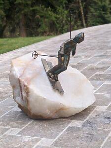 CURTIS JERE SKIER MID CENTURY MODERN ART BRONZE BRUTALISM STYLE SCULPTURE STATUE