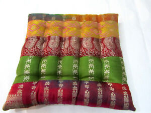 Ethnic Brocade Dining Garden Home Kitchen Office Chair Seat Stripe Pads Cushions