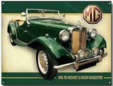 MG TD MIDGET 2-DOOR ROADSTER METAL SIGN(A3)SIZE.VINTAGE MG SPORTS CARS,CLASSIC.