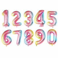 0-9 Number Rainbow Digit Foil Balloons Rainbow Gradient Color Banner Party Decor