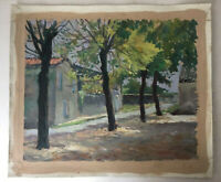Antique French Impressionism painting Landscape House in France oil unsigned
