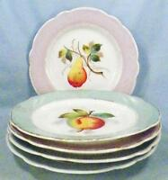 5 Porcelain Dessert Plates Hand Painted Peaches Pears Pastel Border Antique