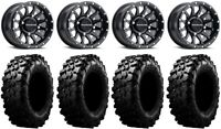 "Raceline Trophy 14"" Black Wheels 32"" Carnivore Tires Honda Pioneer 1000 / Talon"