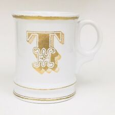 Williams Sonoma Initial T Monogram White Gold Shaving Style Coffee Mug Cup 2012