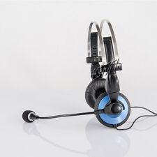 Dynamic PC Headset Stereo Multimedia Kopfhörer mit Mikrofon / schwarz / blau