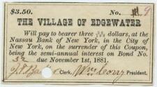 Staten Island New York City 1870s Edgewater Village Bond Coupon Civil War Era 2