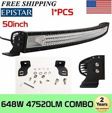 7D+ Tri Row 50'' Inch 648W Curved LED Work Light Bar Combo 4WD Driving Slim Lamp