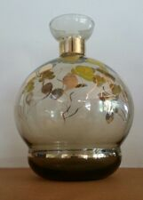 Vintage Mid Century Brown Glass Decanter Hand Painted Gold leaf & Yellow