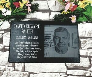 Personalised Memorial Plaque Grave Marker With Picture Engraved On Natural Slate