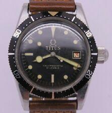 VINTAGE Titus Calypsomatic Mens 7085 Steel Automatic Divers Watch Gilt Big Crown