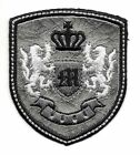 Silver Black Rampant Lion Crown Coat of Arms Crest Letter M Embroidery Patch