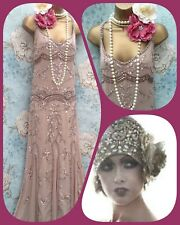 Maya Asos Vintage 20s bead nude wedding bride Evening prom long Dress Gatsby 10