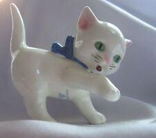 "GOEBEL W.GERMANY WHITE CAT FIGURINE GREEN EYES/BLUE COLLAR 2 1/2"" TALL"