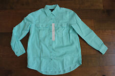 NWT New Banana Republic 100% Cotton Camp Cargo Button Down Shirt Green SP $59.99