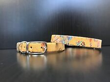 Chihuahua Yorkshire Terrier Pomeranian Puppy Leather Collar CARAMEL WITH FLOWERS
