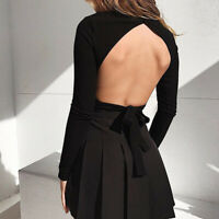 Women Backless Blouse Long Sleeve Hollow Turtleneck Sexy Knitted Black New Tops