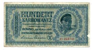 Ukraine Germany Military WWII (P55) 100 Karbowanez 1942