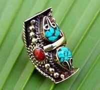Nepal Tibetan Ring Ethnic Bohemian Turquoise Red Coral Boho Saddle Gypsy Jewelry