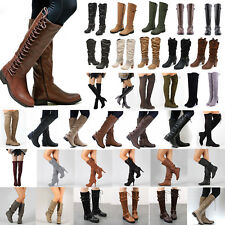 Ladies Women Knee High Lace Up Block Boots Zip Up Mid Calf Riding Flats Shoes UK