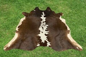 X Small Cowhide Rugs Brown Real Hair on Cow Calf Hide Skin Area Rug 4.5 x 4 ft
