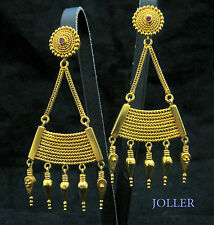 HANDMADE EARRINGS SOLID 18K GOLD EXTRA LONG 70MM FILIGREE GRANULATION BY JOLLER
