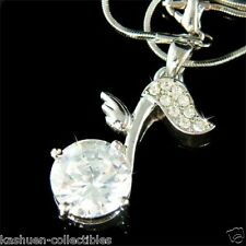w Swarovski Crystal ~Big CZ MUSIC NOTE Musical Wing Charm Pendant Chain Necklace