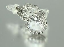 Set Cz Stud Earrings ~ Bl 1.25c Sterling Silver Heart Shaped Crown