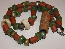 VINTAGE 35+ BEADS NECKLACE PYU DISC GREEN DUST GLASS BRICK TUBE AGATE