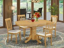 5pc oval dinette kitchen dining set table + 4 faux leather chairs in light oak