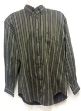 Faconnable Olive Green, Black & White Stripe Long Sleeve Dress Shirt - Size M