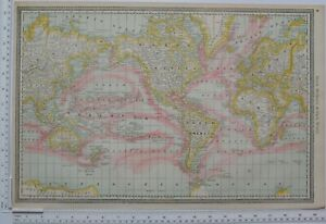 1890 ORIGINAL MAP THE WORLD OCEAN CURRENTS NORTH AMERICA AFRICA ASIA EUROPE