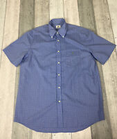 Lacoste Men's Shirt Size 44 XL Short Sleeve Blue Regular Fit Check Cotton