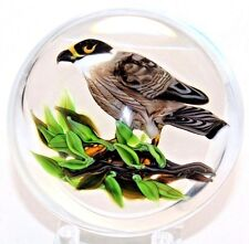 STATELY Rick AYOTTE Hunter Eyed HAWK Bird Perched Branch ART Glass PAPERWEIGHT