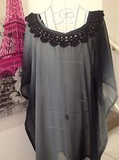 BLACK GREY CROCHET TRIM CAFTAN KAFTAN LOOSE CASUAL PLUS SIZE BOHO RESORT TOP