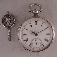Amazing 150-Years-Old Antique Swiss SILVER KW/KS Pocket Watch Perfect Serviced