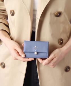 2021 LANVIN en Bleu Chapel tri-fold mini walletCowhide Leather