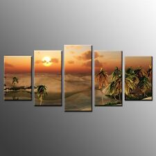 Framed Art for Wall Decor Sandy Beach Sunset Stretched Canvas Prints Poster-5pcs